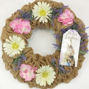 Happy Easter Burlap Bunny and Flowers Welcome Wrea
